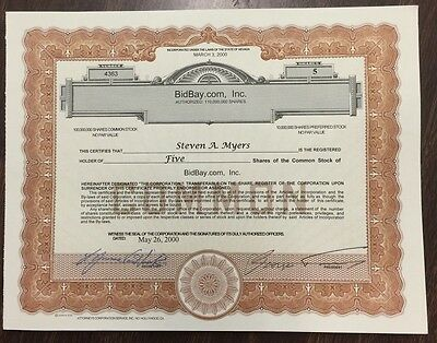 BidBay.com Stock Certificate Owner went to prison No. 4363