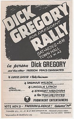 1968 DICK GREGORY RALLY 2-Sided Flyer Poster w/ Photo FREEDOM & PEACE PARTY