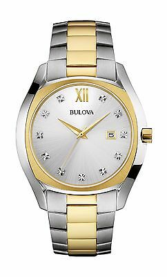 Bulova Men's 98D125 Diamond Dial Quartz Two-Tone Dress 42.5mm Watch