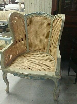 Huge Vintage Cane Country French Provincial Carved Painted Accent Chair AWESOME!