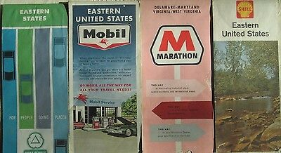 Vintage 1960's Lot of 4 Road Maps Eastern United States-  Mobil/Shell/Marathon/