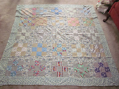 """Early Vintage Feed-sack Patch Quilt Top Antique 67"""" x 68"""" Beautiful Prints"""