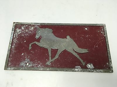 VTG RED Walking Prancing Show Horse Equestrian License Plate Cast Metal Rat Rod