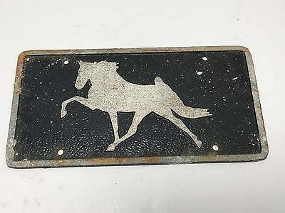 VTG BLAK Walking Prancing Show Horse Equestrian License Plate Cast Metal Rat Rod