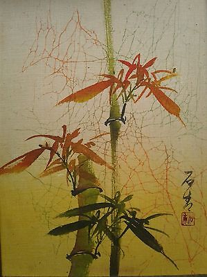 Framed Vintage Signed and Stamped Japanese Ink Brush Painting on Silk Paper