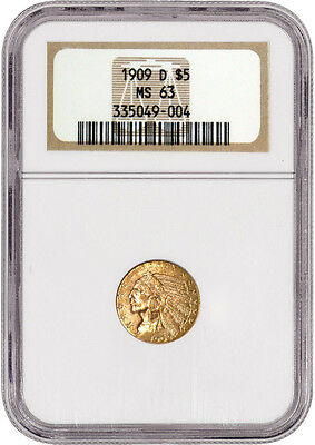 1909 D $5 Indian Head Half Eagle Gold NGC MS63