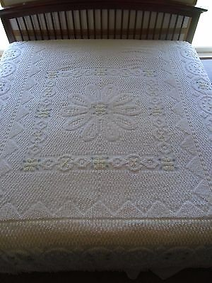 """Vintage Chenille Bedspread 120"""" x 97"""" White, green yellow, floral fringe USA"""