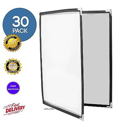 30 Pack of Menu Covers - Double Page 4 View 8.5 x 11 Inch Restaurant Menu Cover