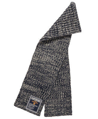 New Mens Superdry Super Cable Scarf Navy Twist