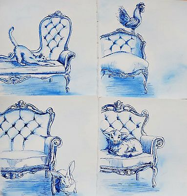 Ink Original Painting/Drawing, 4x Animals on Chairs