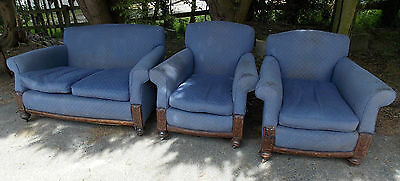 Antique vintage 3 piece suit sofa & 2 armchairs Restoration reupholstery project