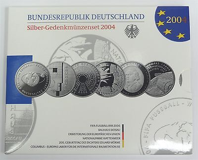 2004 Germany 10 Euro Six Piece Silver Commemorative Coin Set Original Packaging