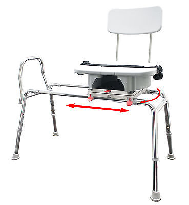 77663 - Snap-N-Save Sliding Transfer Bench with Replaceable Cut Out Swivel Seat