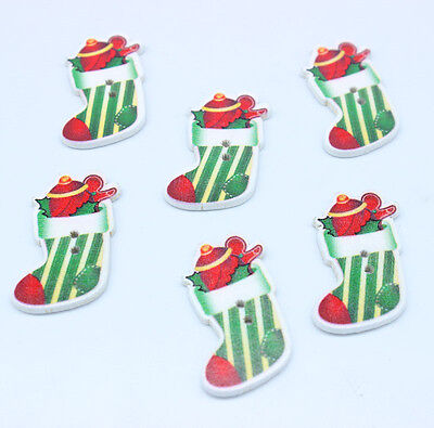 30 Christmas stockings and gifts Wooden Buttons Fit Sewing Scrapbook 2CM*3.5CM
