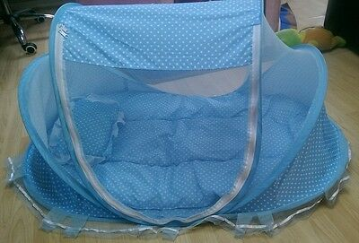 Portable Babies Mattress Pillow Foldable Crib Cot with Mosquito Net 4-in-1 Set