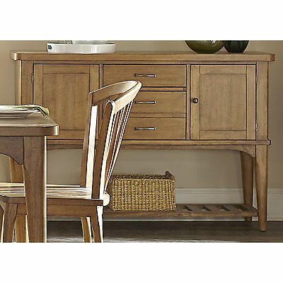 Wood Buffet Server Veneer Natural Finish Table Cabinet Sideboard Kitchen Dining