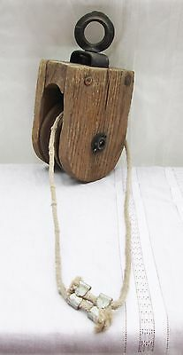 Antique Ship Wood Pulley Nautical Marine Maritime