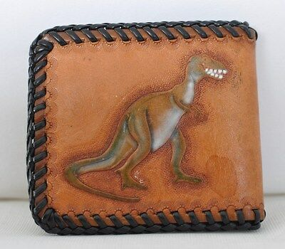Boys Brown Leather Tooled Wallet Name 'Matt' T-Rex Dinosaur