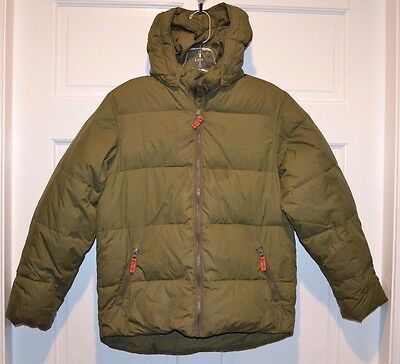 Boys Lands End Army Green Winter Coat 10-12 down puffer puffy Jacket snow warm