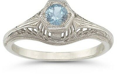 Vintage Art Deco Aquamarine Ring in 14K White Gold