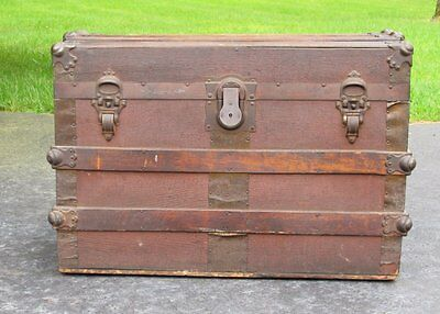 Flat Top Vintage Antique Steamer Wood Slat Canvas Trunk Storage Chest
