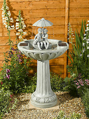 Smart Solar Umbrella Boy & Girl Solar Water Fountain Feature