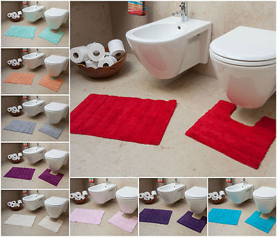 100% Cotton 2 Piece Bath & Pedestal Mat Set Cheap Washable Soft Bathroom Rugs UK
