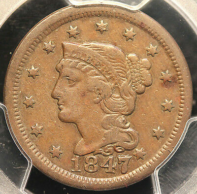 1847/7 N-2 Large Cent in a PCGS Holder Graded VF30