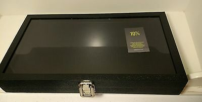 Ring Display Case Glass Top Jewelry Storage Case 72 Slot Ring Tray, Black NEW
