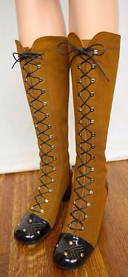 Vtg 1960's 70's Suede Leather Studded Laced Go Go HiPPiE MOD BoHo Boots Shoes 7