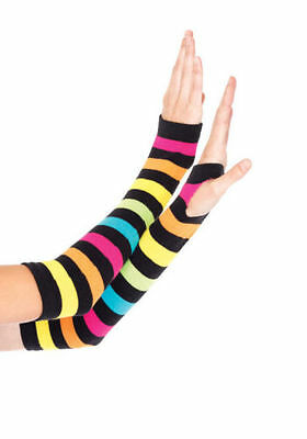 Leg Avenue 2031 Neon Rainbow Gauntlet Gloves (Multicolor One Size) NEW