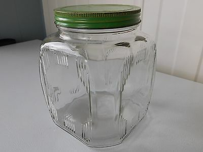 Large Vintage Art Deco Hoosier Square Glass Jar Antique 1930's Country Kitchen