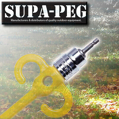 "24Mm 1/2"" Socket & Cordless Drill Chuck Adapter Suit Supa-Peg Screw Tent Pegs"