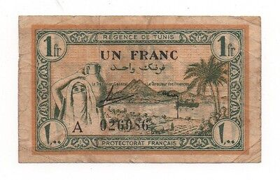 Tunisia 1 Franc 1943 Pick 55 Look Scans