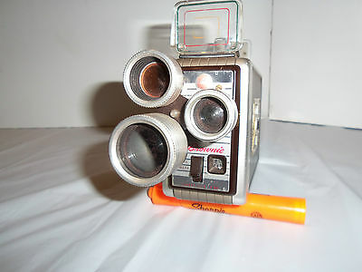 VINTAGE KODAK BROWNIE 8MM MOVIE CAMERA W/ 3 LENS TURRET f/1.9 WITH FILM