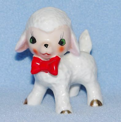 Lamb sheep figurine standing with red bow made in Japan 3 1/4""