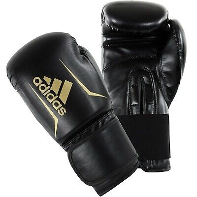 Adidas Hybrid 100 Boxing Gloves Black & Gold Sparring 8 10 12 14 16 oz