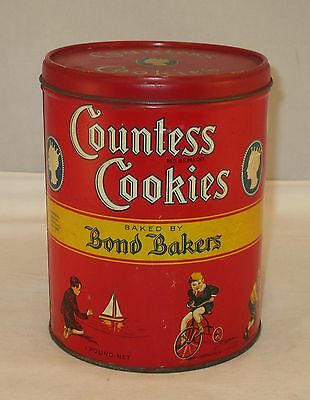 Antique 1930s Bond Bakers Countess Cookies Crackers Round Tin w/ Kid Graphics