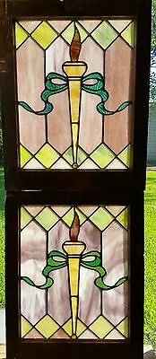 Antique American  Stained Glass Window Pair