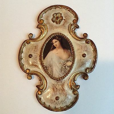 Beautiful and Unique Frame Vintage Italian Florentine Gold Gilt Wood Wall Plaque