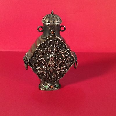 Vintage Chinese Silver Snuff Bottle Turquoise & Coral embellished