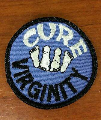 "Vintage NOS ""CURE VIRGINITY"" Patch 70s Hippie Blue"