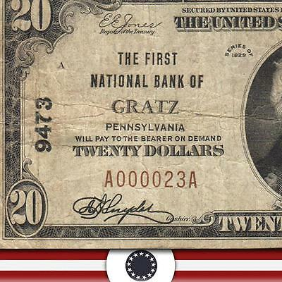 1929 $20 The First National Bank of GRATZ, PA Dauphin County    A000023A