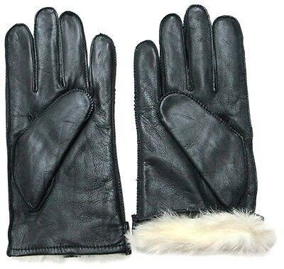 Men's Genuine Leather Gloves with Rabbit Fur Lining