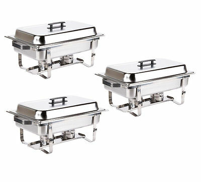 3 PK Stainless Steel Chafing Dish 8 QT Full Size Folding Chafer Buffet Catering
