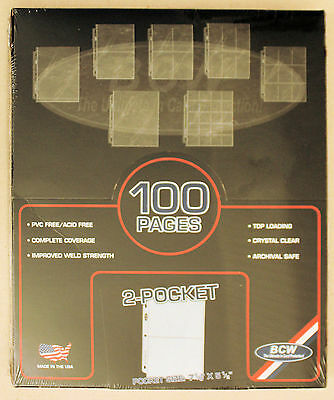 "BCW 2 Pocket Pages New Unopened Box Of 100 7-1/8"" x 5-1/2"" Made In USA Acid Free"