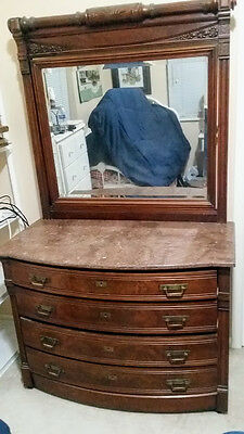 Antique Victorian Walnut Vanity Dresser Chest With Beveled Mirror And Marble Top
