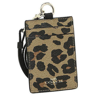 NWT Coach Leopard Print Lanyard ID Case in Natural F 66473