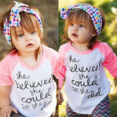 Kids Baby Girls Summer Casual Long Sleeve T-shirt Tops Blouse Clothes Outfits SH