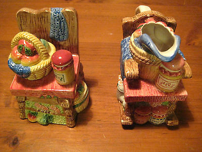 Fitz And Floyd Hand Colored Small Pitcher & Covered Candy Dish 2 Pieces